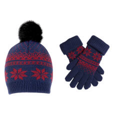 Dents Womens Snowflake Knitted Hat and Gloves