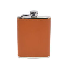 Ettinger 6oz Captive Top Leather Bound Hip Flask